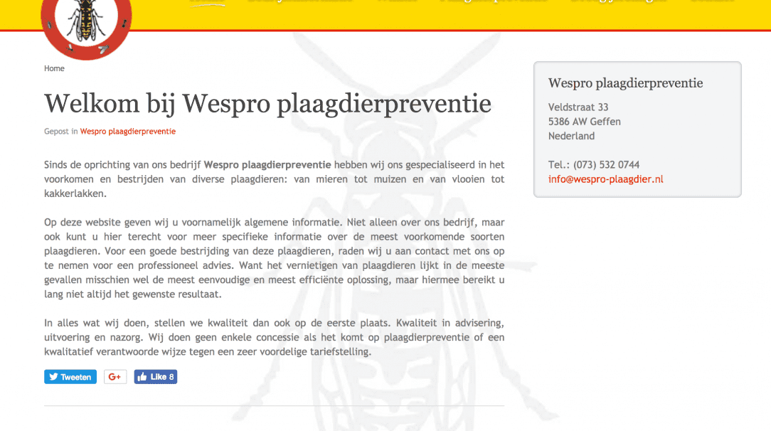 Wespro Plaagdier website